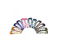 12 PCS Girls Kids Iron Hair Clip Snap Stripes Colorful Gift
