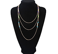 European Style Fashion Simple Multilayer Crystal Necklace