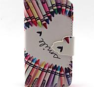 bunten Wachsmalstiften Muster PU-Leder-Tasche für iPhone 4 / 4S