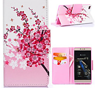 Peach Blossom Pattern with Card Bag Full Body Case for Huawei P8