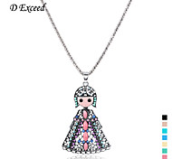 D exceed  Retro Sliver Plated Colorful Handmade Acrylic Beads Hollow Out Little Girl Pendant Necklace Free Shipping