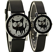 Couple's Simple Case Rubber Band Quartz Wrist Watch