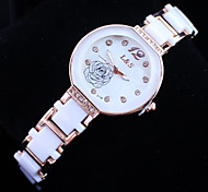 Women's Fashionable Rose Style Alloy Analog Quartz Bracelet Watch