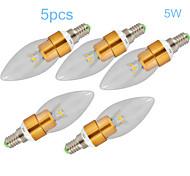 5pcs MORSEN® 5W E14 450-500LM 3000-3500K Warm White Color LED Candle Style Candle Bulb (85-265V)