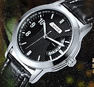 Couple's Fashion  Dial Leather Band Calendar Quartz Analog Wrist Watch