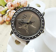 ZIQIAO Eiffel Tower Pattern PU Leather Band Analog Quartz Wrist Watch for Women Cool Watches Unique Watches