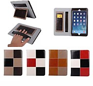 "9.7""Inch Color Matching Pattern Luxury Genuine Leather Wallet Case with Stand for iPad Air 2 iPad 6(Assorted Colors)"