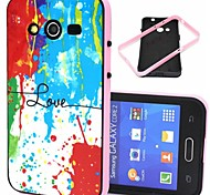 Love Words with Splash-ink Pattern Plastic/TPU 2 in 1 Design Back Cover Case for Samsung Galaxy Core 2 G355H