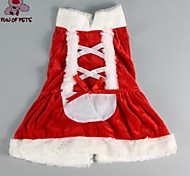 Cat / Dog Dress Red Winter Bowknot Christmas / New Year's