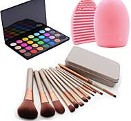 12Pcs Cosmetic Makeup Tool Blush Foundation Brush Set Box +28Colors Shimmer Eyeshadow Palette+1PCS Brush Cleaning Tool