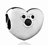 Mickey Heart silver beads for bracelet and necklace