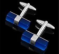 Men's Sapphire Masonic Brick Cylinder Blue Silver Wedding Cufflinks