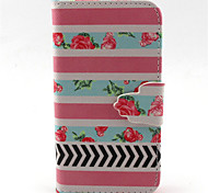Pink Flowers  Pattern PU Leather Phone Case For iPhone 4/4S