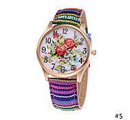 Woman Exotic Colorful Fabric Band Red Lotus Quartz Bracelet Wrist Watch Casual Unique Diamond Watch