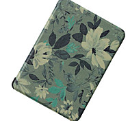 Blue and white flowers leather case for Kindle Voyage