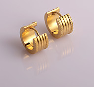 Fashion New  Gold  Double Outside Scrub  Inside  Three Ditch  Hoop Earrings Wedding/Party/Daily/Casual 2pcs