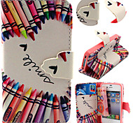 Colorful Pencil Pattern with Card Bag Full Body Case for iPhone 4/4S