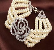 MPL Multilayer pearl diamond roses Stretch Bracelet