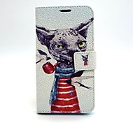 Smoking Cat Leather Case with Stand for Samsung Galaxy S6/ S5/ S4/ S3/ S3 mini/ S4mini/ S5mini/ S6 edge