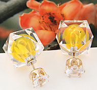European Style Fashion Wild Candy-colored Shiny Irregular Square Ball Earrings
