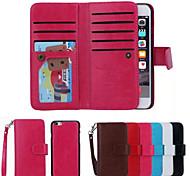 diseño especial de cuero de la PU de los casos de cuerpo completo desmontable billetera 9 tarjeta para iphone 6 más (color clasificado)