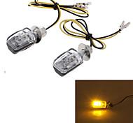 amarillo 6 llevó la motocicleta de la lámpara indicador luminoso de señal de giro shell negro (2 piezas)