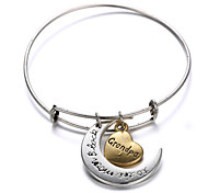Zinc Alloy Heart and Moon Grandpa I Love You to the Moon and Back Expanable Bangle 1pc