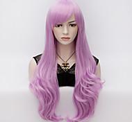 70см длинные волнистые аниме косплей партии повелительницы женщин сексуальная Harajuku парик длинные парики партии сирень