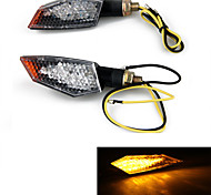 Motorcycle 18 LED Stalk Turn Signals Indicators Yellow Light (2 Pcs)