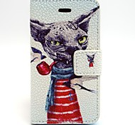 Pipe Dog Pattern PU Leather Material Card Full Body Case for iPhone 4/4S