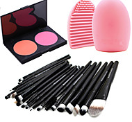 Pro 20pcs Brushes Set Foundation Eyeshadow Eyeliner Lip Brush Tool+2Colors Blush Palette+1PCS Brush Cleaning Tool