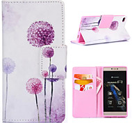 Purple Dandelion Pattern with Card Bag Full Body Case for Huawei P8