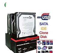 "3 Slots 2.5""/3.5"" SATA IDE HDD Hard Drive Docking Clone Card Reader USB 2.0 HUB"