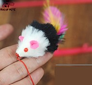 Lovely Mouse Shaped Feather Decorated Playing Stick for Pet Dogs Cats