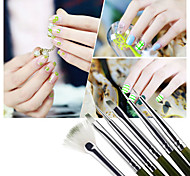 6pcs Nail Art Design ainting Tool Pen Polish Brush Set Kit DIY Professional Green