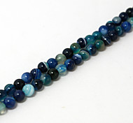 Beadia 39Cm/Str (Approx 95PCS) Natural Agate Beads 4mm Round Dyed Blue Color Stone Loose Beads DIY Accessories