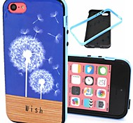 2-in-1  Dandelion Wish Floor Pattern TPU Back Cover with PC Bumper Shockproof Soft Case for iPhone 5C