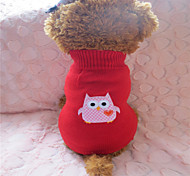 Dog Sweater Red Winter Embroidered Fashion