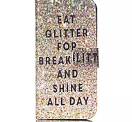 Glitter Breakfast Pattern PU Leather Phone Case For iPhone 6