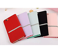 For iPhone 6 Case / iPhone 6 Plus Case Rhinestone / with Stand / Flip Case Full Body Case Solid Color Hard Genuine LeatheriPhone 6s