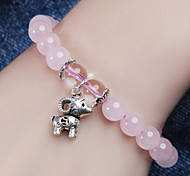 925 Thai Silver Pink Crystal Bead with Capricorn pendant 8MM Bracelet for Women's