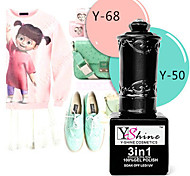Y-SHINE 2 Pcs Nail Gel Polish Soak Off Uv Gel Nail Polish Y50-68(Powder green& Pink)