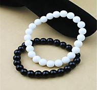 Simple Fashion Round Glass Bracelet(Black/White)(1Pc)