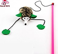 Cat Toy Pet Toys Teaser Feather Toy Hedgehog Brown Textile