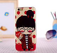 Glasses Gril Painting Ultrathin TPU with Plastic for iPhone 6