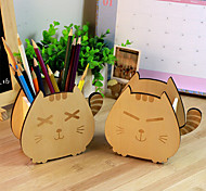 Creative Wooden Cartoon Lucky Cat Pencil Holder Cute Accessory Box (Random Color)