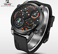 WEIDE® Men Universe Series Military Watch Compass Dual Time Zones Black Silicone Strap