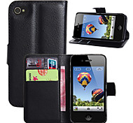 Litchi Around Open Bracket Leather Phone Wallet Card Suitable for iPhone 4/4S(Assorted Color)