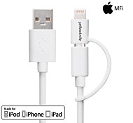 Yellowknife® MFi 2-in-1 Lightning to USB 8pin+Micro USB Charge /Data Sync Cable for iPhone/Samsung and Others 1M