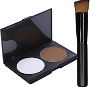 2 Colors Salon Contour Face Powder Cake Makeup Palette+1PCS Makeup Foundation Brushes